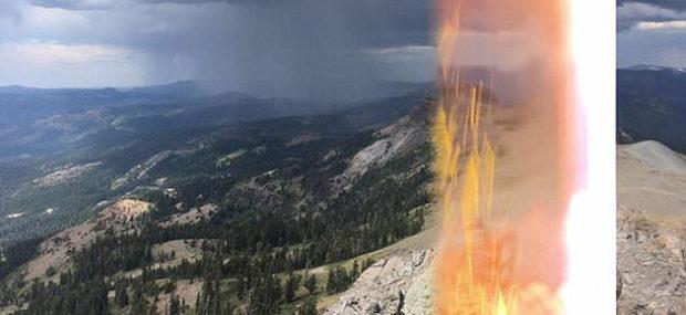 Турист сфотографировал ударившую в него в горах молнию
